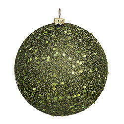 6 Inch Olive Sequin Round Shatterproof UV Christmas Ball Ornament 4 per Set
