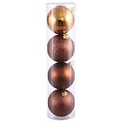 6 Inch Mocha Assorted Finishes Round Christmas Ball Ornament 4 per Set