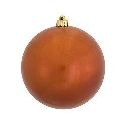 6 Inch Burnish Orange Candy Round Shatterproof UV Christmas Ball Ornament 4 per Set