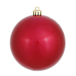 6 Inch Wine Candy Round Shatterproof UV Christmas Ball Ornament 4 per Set