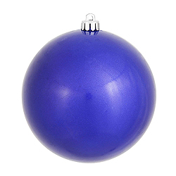 6 Inch Cobalt Candy Round Shatterproof UV Christmas Ball Ornament 4 per Set
