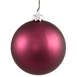 6 Inch Plum Matte Round Shatterproof UV Christmas Ball Ornament 4 per Set