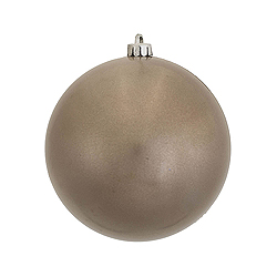 6 Inch Pewter Candy Round Shatterproof UV Christmas Ball Ornament 4 per Set