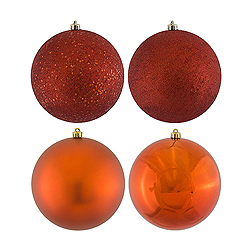 6 Inch Copper Assorted Finishes Round Christmas Ball Ornament 4 per Set