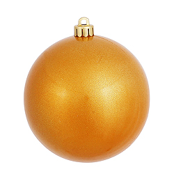 6 Inch Antique Gold Candy Round Shatterproof UV Christmas Ball Ornament 4 per Set