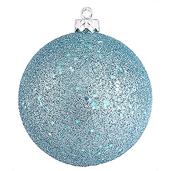 6 Inch Baby Blue Sequin Round Shatterproof UV Christmas Ball Ornament 4 per Set