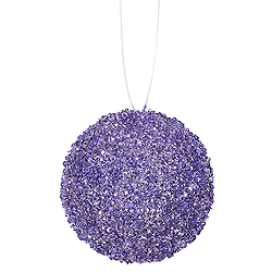 6 Inch Lavender Sequin Round Ornament 12 per Set