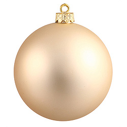 6 Inch Champagne Matte Round Shatterproof UV Christmas Ball Ornament 4 per Set
