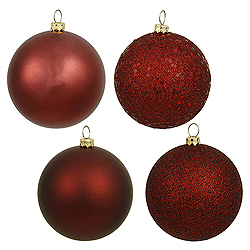 8 Inch Burgundy Ball Ornament Assorted Finishes 4 per Set