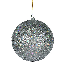 8 Inch Silver Sequin Round Shatterproof Christmas Ball Ornament