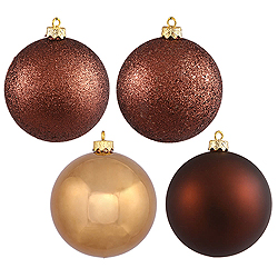 8 Inch Mocha Assorted Finishes Round Christmas Ball Ornament 4 per Set