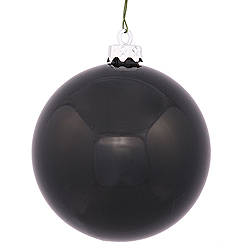 8 Inch Black Shiny Round Ornament