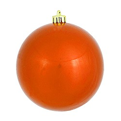 8 Inch Burnish Orange Pearl Round Ornament 3 per Set