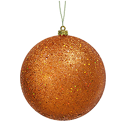 8 Inch Burnish Orange Sequin Round Ornament