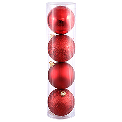 10 Inch Red Ball Ornament Assorted Finishes 4 per Set