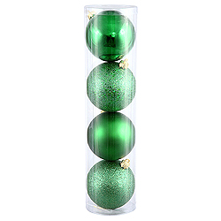 10 Inch Green Ball Ornament Assorted Finishes 4 per Set