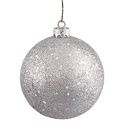10 Inch Silver Sequin Round Ornament