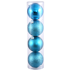 10 Inch Turquoise Ball Ornament Assorted Finishes 4 per Set