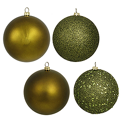 10 Inch Olive Assorted Finishes Round Christmas Ball Ornament 4 per Set