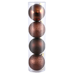 10 Inch Chocolate Ball Ornament Assorted Finishes 4 per Set