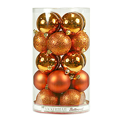 10 Inch Burnish Orange Assorted Finishes Round Christmas Ball Ornament 4 per Set