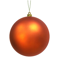 10 Inch Burnish Orange Matte Round Ornament