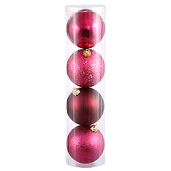 10 Inch Wine Assorted Finishes Round Christmas Ball Ornament 4 per Set