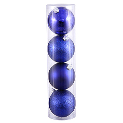 10 Inch Cobalt Ball Ornament Assorted Finishes 4 per Set