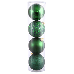 10 Inch Emerald Ball Ornament Assorted Finishes 4 per Set