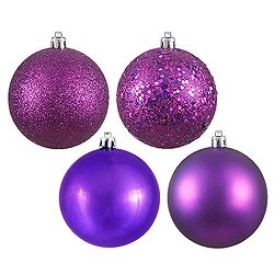 10 Inch Plum Assorted Finishes Round Christmas Ball Ornament 4 per Set