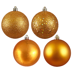 10 Inch Antique Gold Assorted Finishes Round Christmas Ball Ornament 4 per Set