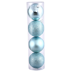 10 Inch Baby Blue Assorted Finishes Round Christmas Ball Ornament 4 per Set