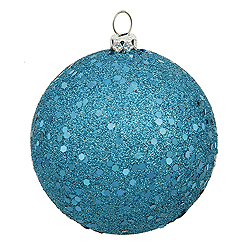 12 Inch Turquoise Sequin Finish Round Ornament