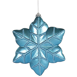 8 Inch Turquoise Snowflake Ornament 4 per Set