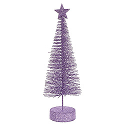 12 Inch Glitter Sisal Lavender Artificial Christmas Tree With Star 2 per Set