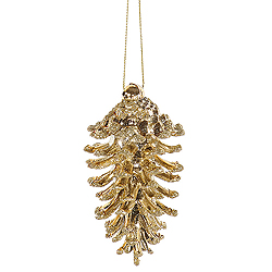 3.5 Inch Gold Pine Cone Ornaments - Box Of 6