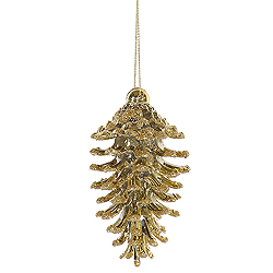 3.5 Inch Champagne Pine Cone Ornaments - Box Of 6