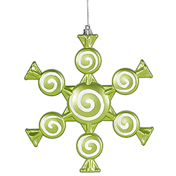 8 Inch Lime Candy Snowflake Christmas Ornament Set of 2