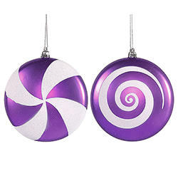 4.75 Inch Purple And White Candy Ornament Box of 4