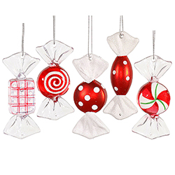 3.5 Inch Red And White Candy Christmas Ornament Set of 5