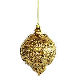 5.5 Inch Antique Gold Ball Drop Ornament Box of 12
