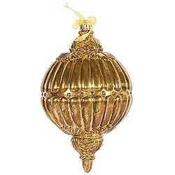 12 Inch Antique Gold Ball Drop Ornament 3 per Set
