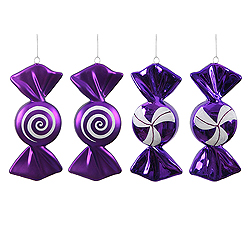 4 Inch Purple And White Candy Ornament Box of 4