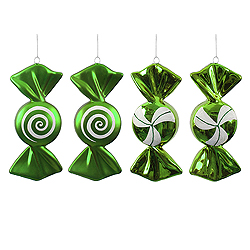4 Inch Lime And White Candy Ornament Assorted 4 per Set