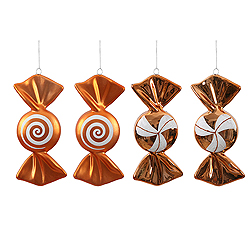 4 Inch Orange And White Candy Ornament 4 per Set