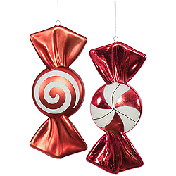 12 Inch Red And White Candy Ornament Assorted 4 per Set