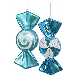12 Inch Teal And White Candy Ornament 4 per Set