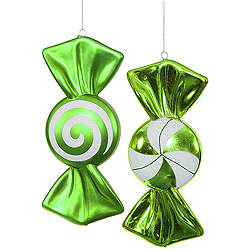 12 Inch Lime And White Candy Ornament Assorted 4 per Set