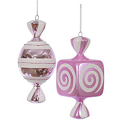 8 Inch Pink And White Fat Candy Ornament 4 per Set