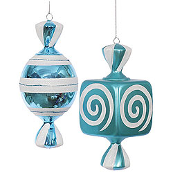 8 Inch Teal And White Fat Candy Ornament 4 per Set